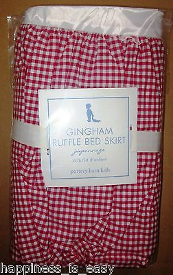 NWT Pottery Barn Kids Gingham Dust Ruffle Crib Skirt Bedskirt Red White Checked