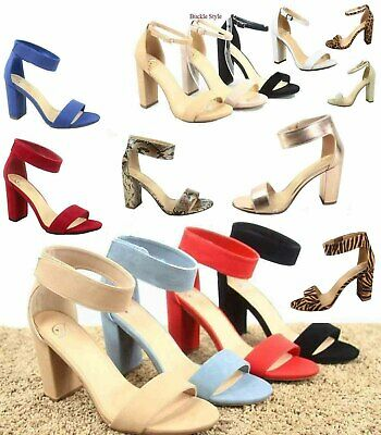 Women's Cute Open Toe Ankle Strap Chunky Heels Sandals Shoes Size 5.5 - 11 NEW