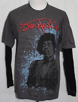 JIMI HENDRIX Shirt With Long Thermal Sleeves Heather Brown XL