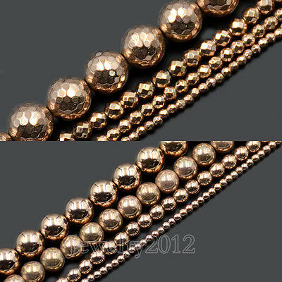 """Natural Gemstone Hematite Rose Gold Smooth Faceted Round Beads 2mm 3mm 4mm 15.5"""""""