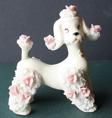 Vintage Beautiful White Poodle with Spaghetti-Pink Flowers-Adorable-Porcelain