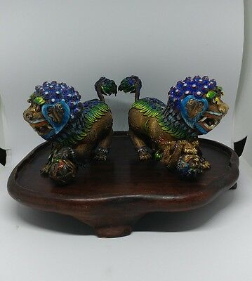 Pair of Chinese Silver Wire Enamel Foo Dogs Heavy CHINESE ENAMEL ON SILVER 20 C