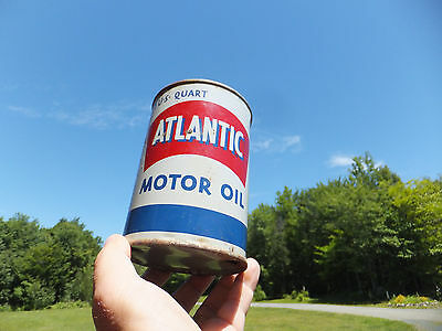 "Vintage Quart Atlantic Detergent Motor Oil Tin Can ""Rusty Gold Iconic Look"""