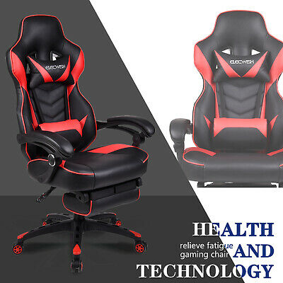 Racing Gaming Chair Massage Ergonomic Swivel High Back Office Desk Seat Footrest