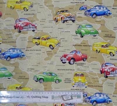 Patchwork Quilting Sewing Fabric AUSTRALIAN ROAD MAP CARS 50×55 FQ Material NEW