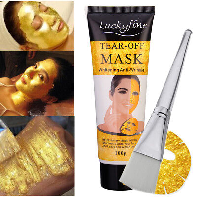 Gold Collagen High Moisture Anti-Aging Remove Wrinkle Facial Mask + Brush New