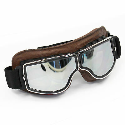 Motorcycle Brown Leather Goggles Retro Helmet Glasses Bobber Chopper Flying ATV