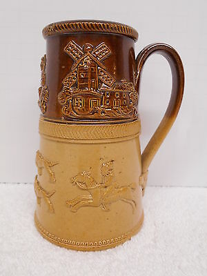 Antique Stein Tankard Sprigged Hunt Scene Windmill Stoneware Brown Shaving Pot
