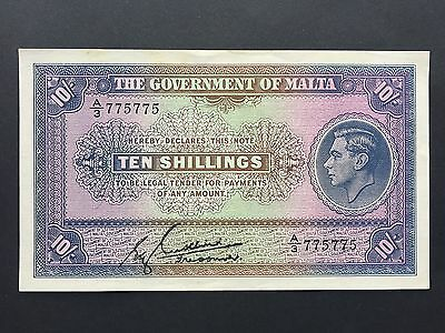 Malta 10 Shillings P19 Cushieri Repeater Serial A/3 775775 Issued 1940 aUNC