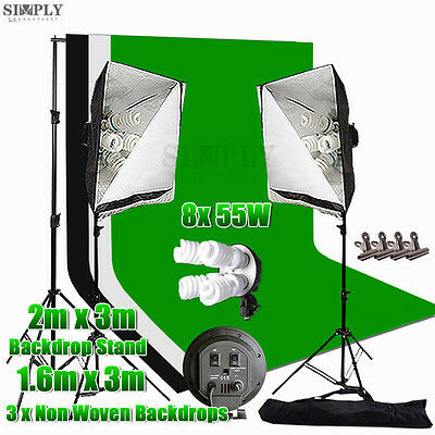 Photography Studio Soft Box Continuous Lighting Softbox Light Backdrop Stand Kit