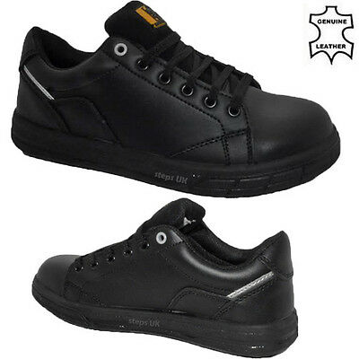 Mens Genuine Leather Steel Toe Cap Safety Boots Lace Up Work Shoes Trainers 6-14