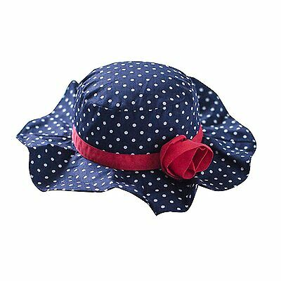 Toubaby Kid Girls Flower Sun Hats Bucket Hat with Big Fold-up Brim Blue 0-6t old