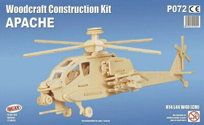 Apache Woodcraft Construction Kit- Helicopter 3D Wooden Model Puzzle KIDS ADULTS