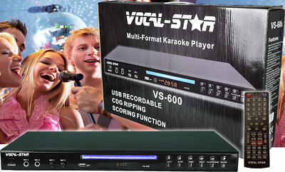 Vocal-Star Vs-600 Black Karaoke Machine Player Cdg Dvd Usb Mp3 Cd Mp3G