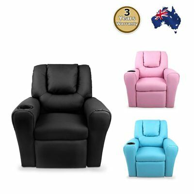 Kids Recliner Sofa Children Lounge Chair Padded PU Leather Arm Black Pink Blue