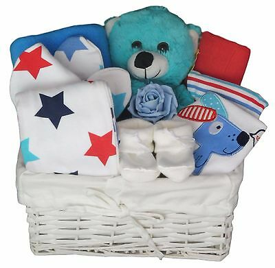 Deluxe Baby Gift Basket With 5 Piece Clothes Set.Baby Hamper. Newborn Baby Gift.
