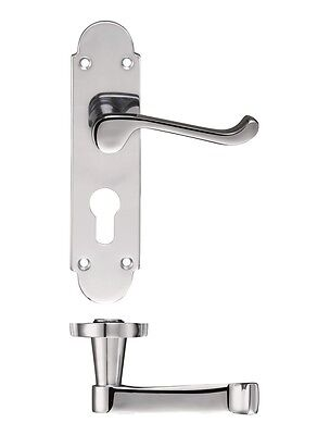 20 Pairs Scroll Polished Chrome Door Handle on 168 x 42mm EURO PROFILE Backplate