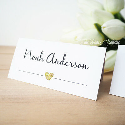 Wedding Place Cards Personalised Name Cards Guest List Table White Gold Glitter