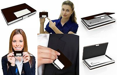 Business Name Card Holder Brown Leather Stainless Steel Metal Box ID Credit Case