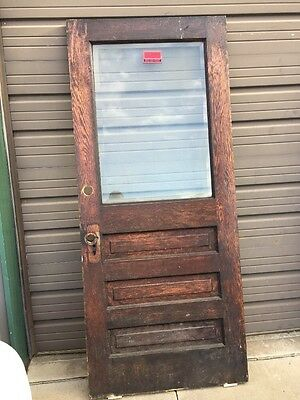 An 161 Antique Oak Beveled Glass Entrance Door 35.75 X 83