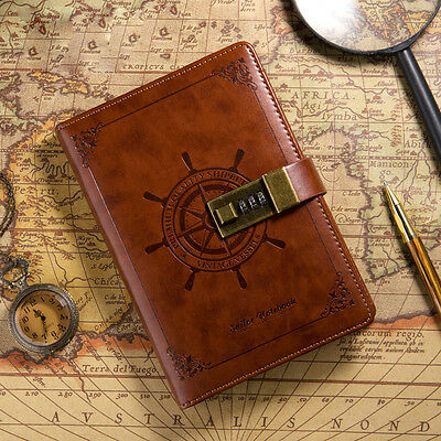 Rudder Brown Leather Writing Journal Blank Diary With Password Lock Notebook B6