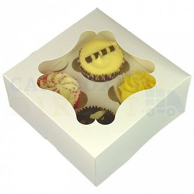 4 Economy Window Cupcake Box + Divider Cheapest On Ebay Choose Your Quantity