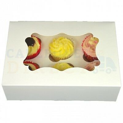 6 Economy Window Cupcake Box + Divider Cheapest On Ebay Choose Your Quantity