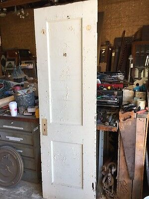 An 170 Antique Two Panel Painted Passage Door Closet Door With Mirror 24 X 79.5