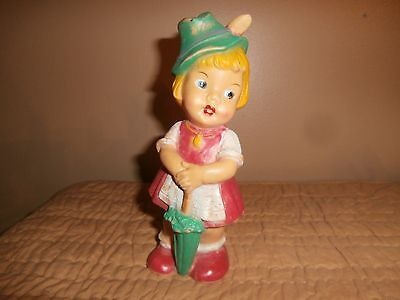 Vintage 1950's Rubber Girl W Umbrella Made In W Germany Squeak Toy Doll