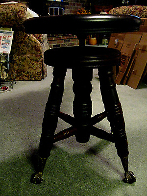 Antique Piano Stool by A. Merriam Co.Mass.S.O.Action with Glass Ball & Claw Feet