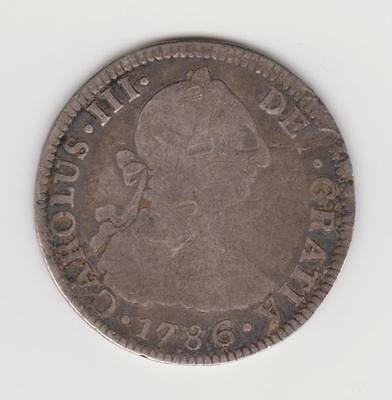 MEXICO 1786 Mo FM SILVER 2 REALES COLONIAL outside edge appears planed