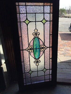 Sg 1213 Antique Stainglass Transom Window 18.75 X 40.5