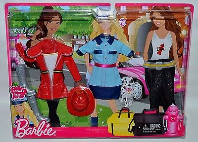 New-2010-Barbie-3 Pack Career Fashions- I Can Be...firefighter, Police Officer +