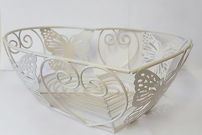 Vintage Shaby Style Chic Butterfly Design Metal Egg Fruit Wire Basket -NEW