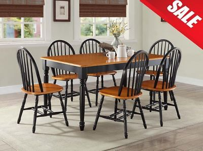 7 Piece Kitchen Dining Table 6 Chairs Set Comfortable Furniture Solid Wood Home
