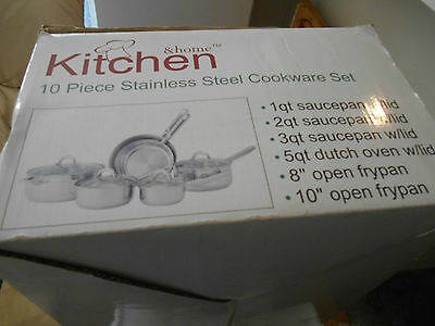 10-Piece Stainless Steel Cookware Set With Lids..kitchen & Home...new In Box