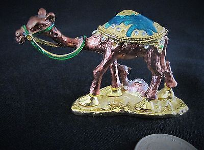Vintage Small Metal Camel Figurine with Colorful Stones and Baby Camel