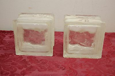 Vintage Wavy Glass Block Reclaimed Used Lot of 2