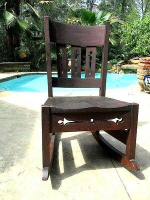 Antique Arts and Craft  Oak Childs Rocking Chair