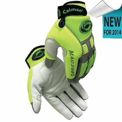 Caiman 2980 Genuine Goat Skin Hi-Viz Mechanic Gloves with Reflective Trim -Large