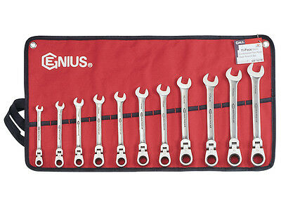 11 Piece Stainless Steel Metric Flex Head Ratcheting Wrench Set Genius Tools