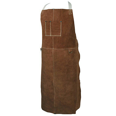 "Caiman 5148 Welding Apron, Bib Style Welding Apparel, Genuine Cowhide, 48"" Long"