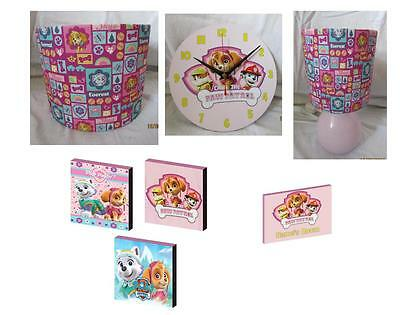 PAW PATROL PINK BEDROOM BUNDLE - LAMPSHADE, LAMP, CANVASES, CLOCK 2 free gifts
