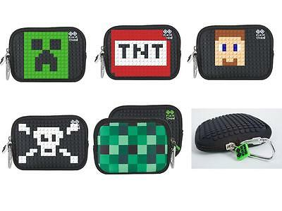 Creative Pixie Crew themed wallet / coin purse - Minecraft / Skulls / Jigsaw