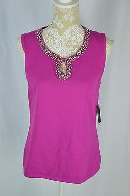 337fe376d55a42 Cable   Gauge Womens Large Pink Beaded Keyhole Sleeveless Sweater Tank Top  Shirt
