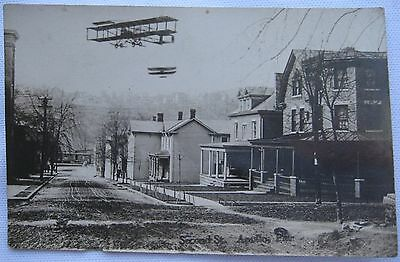Apollo PA Second Street RPPC Wright Brothers Planes Rail Train Antique Postcard