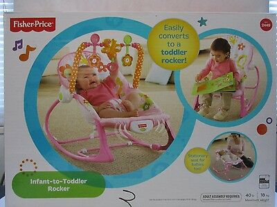 Fisher-Price Infant To Toddler Rocker, Baby Bouncer Chair with Toys, Bunny ~NEW~