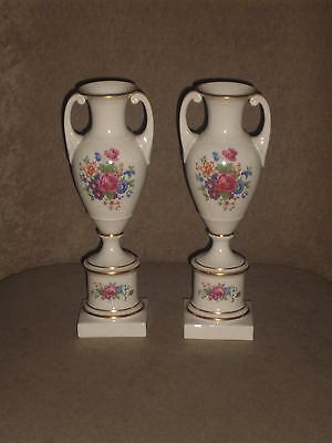 "Rare Vintage Pair ""lenox Rose"" Ivory Empire Trophy Style Vases Old Blue Mark"