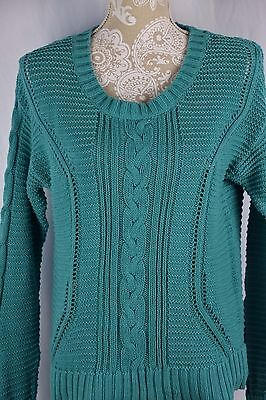 Old Navy Womens Large Teal Blue Green Cable Knit Chunky Long Sleeve