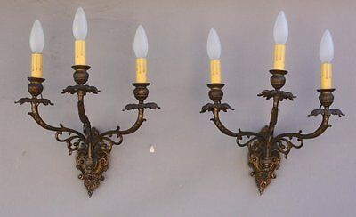 Pair 1920's Brass Triple Light Sconces Fits Spanish Revival Gothic French (7210)